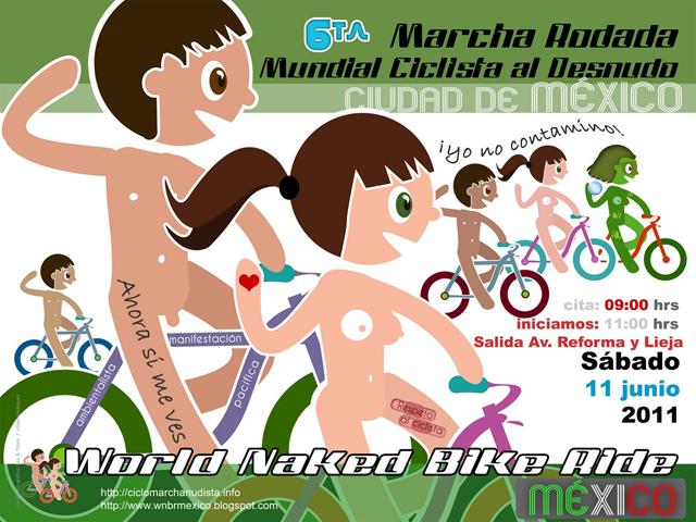 Marcha de Ciclistas al Desnudo, 11 de Junio en el D.F.