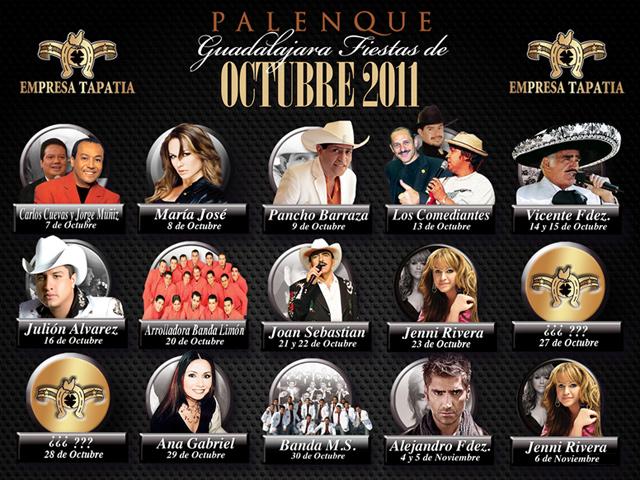 Cartelera de Conciertos, Fiestas de Octubre 2011 en Guadalajara