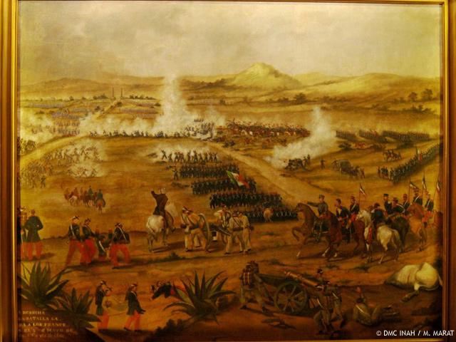 Expertos del INAH restauran óleo de la Batalla del 5 de mayo de 1862