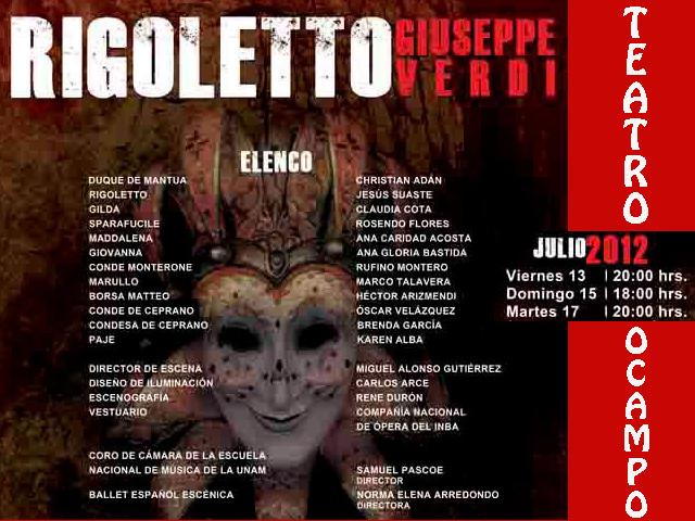 Rigoletto de Verdi en el Teatro Ocampo de Cuernavaca