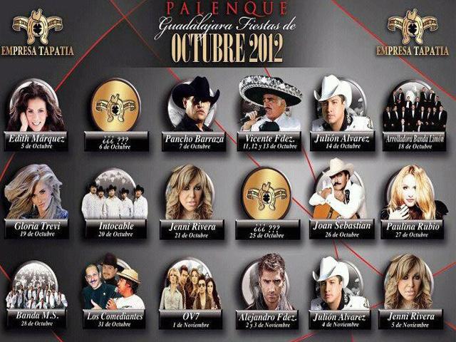 Cartelera de conciertos Fiestas de Octubre 2012