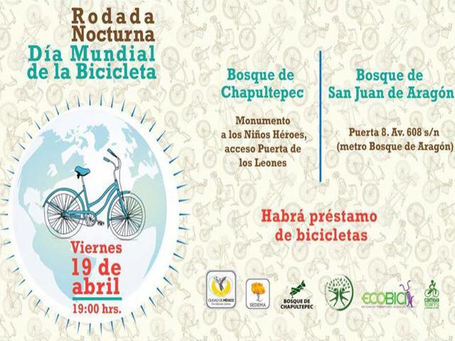 Día Mundial de la Bicicleta, rodadas nocturnas en el DF