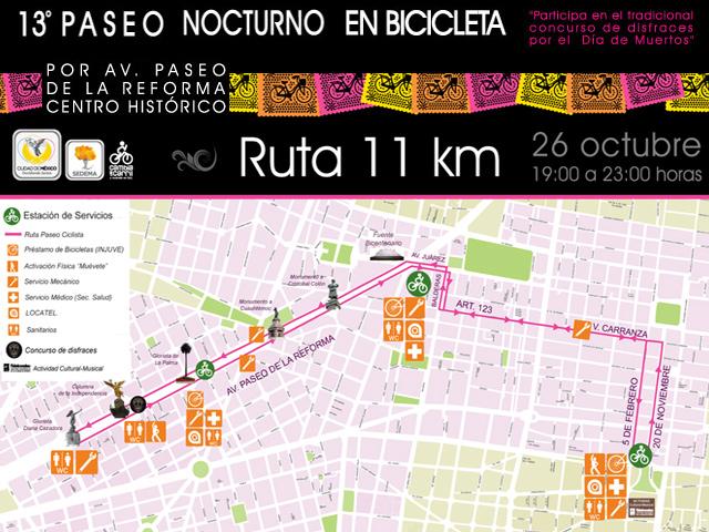 Paseo nocturno en bici Noche de muertos 2013 por Av. Reforma