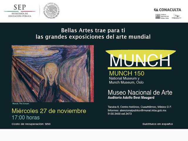 """El MUNAL proyectará el documental """"Munch 150"""""""
