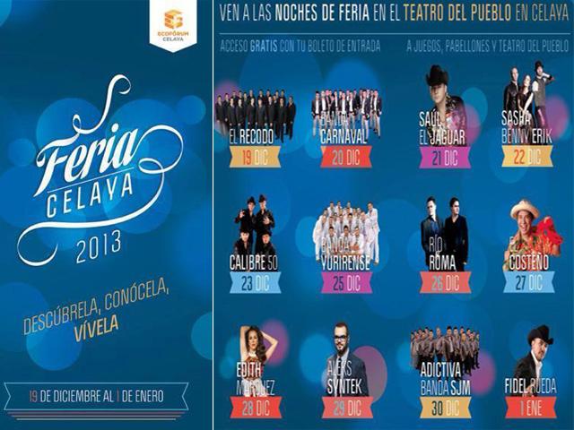 Artistas confirmados y atracciones de la Feria de Navidad de Celaya 2013