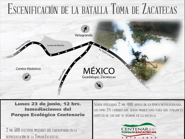 2 mil 500 militares participarán en la Escenificación Histórica de la Toma de Zacatecas
