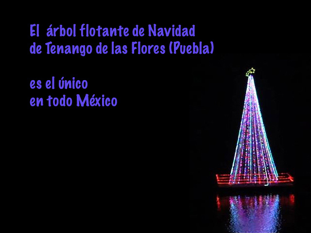 En Puebla luce el único Arbol de Navidad flotante de México
