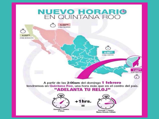 En febrero, Quintana Roo pasará a la nueva Zona Horaria Sureste