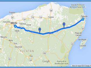 Autopista del Mayab entre Mérida y Cancún  Google Map