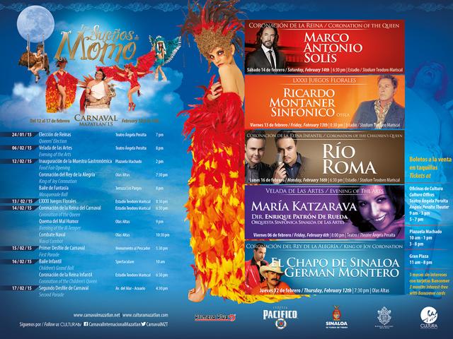 Eventos y conciertos del Carnaval de Mazatlán 2015