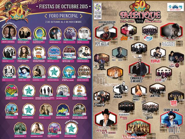 Conciertos en el Palenque y Foro Principal de las Fiestas de Octubre 2015: