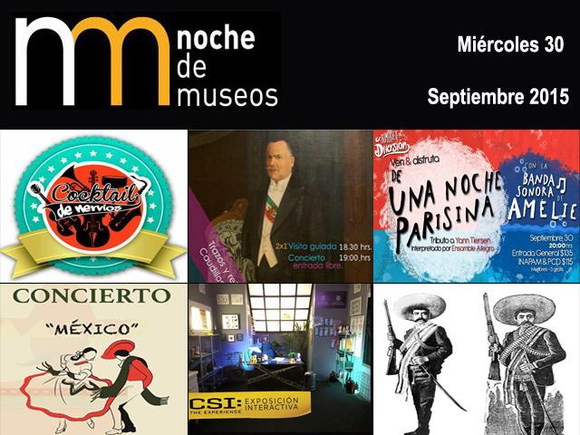 Programa de la Noche de Museos del miércoles 30 de septiembre 2015