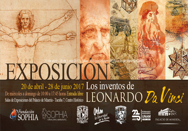 Los inventos de Leonardo Da Vinci se exhiben en el Palacio de Minería